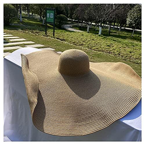 HYYYH Damen 12 Zoll Strohhut mit breiter Krempe Floppy Faltbare Roll-up-Kappe Sonnenhut am Strand Einstellbare Form (Color : Khaki, Size : S)