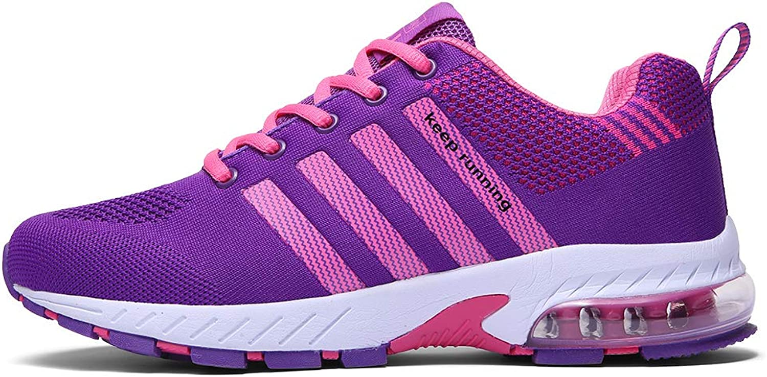 Ahico Running shoes Women - Air Cushion Womens Tennis shoes Lightweight Fashion Walking Sneakers Breathable Athletic Training Sport Purple Size 5.5