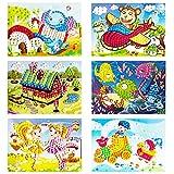 YUESEN DIY Mosaico Pegatinas Niños Creativo Dibujos Animados eva Mosaico Pegatina Manualidades educativas Juguetes,Puzzles Hechos a Mano Kits- 6pcs