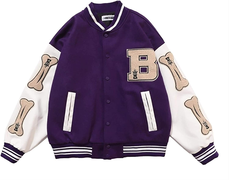 PoJu Baseball Jacket for Women/Men Unisex College Jacket Varsity Jacket Sweat Jacket Vintage Streetwear Sports Jacket