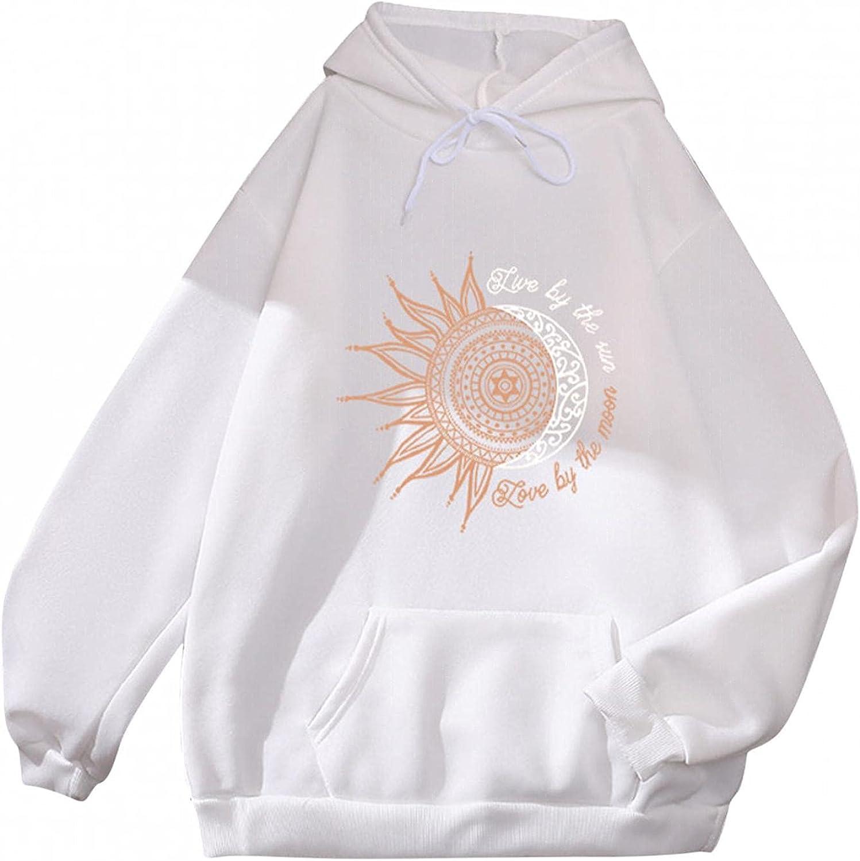 Toeava Women Hoodies Long Sleeve Moon and Sun Print Sweatshirt Long Sleeve Lightweight Pullover Hoodies with Pocket