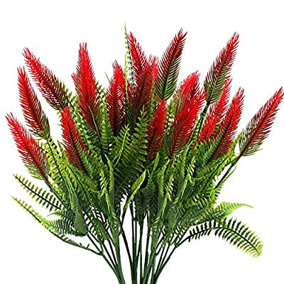 MHMJON Artificial Plants Flowers, 4Pcs Fake Plastic Setaria Shrubs Fuax Greenery Bushes Indoor Outdoor Home Kitchen Office DIY Hotel Table Centerpieces Decoration (Red)