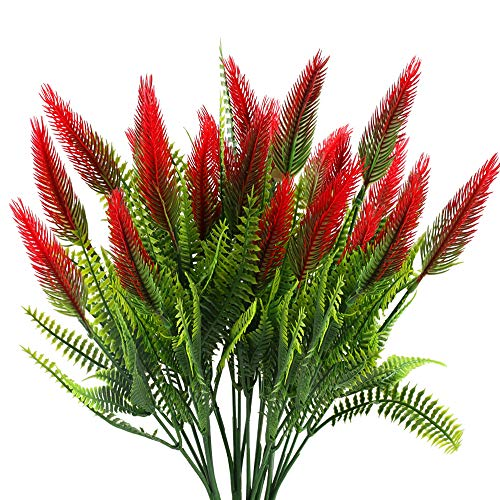 MHMJON Artificial Plants Flowers 4Pcs Fake Plastic Setaria Shrubs Fuax Greenery Bushes Indoor Outdoor Home Kitchen Office DIY Hotel Table Centerpieces Decoration (Red)
