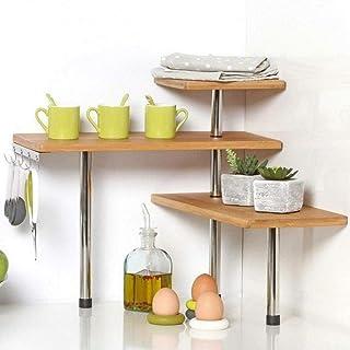 Bakaji - Estantería esquinera para Cocina con 3 estantes de Madera de bambú, Estructura de Acero, Mueble Angular para Especias con Ganchos