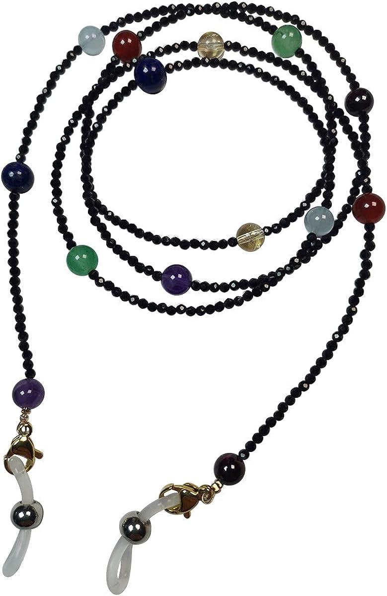 Qordelia Black Spinel with Natural Seven Chakras Eyeglasses Chain, Eyeglass Lanyard Semi-Precious Eyeglasses for Women