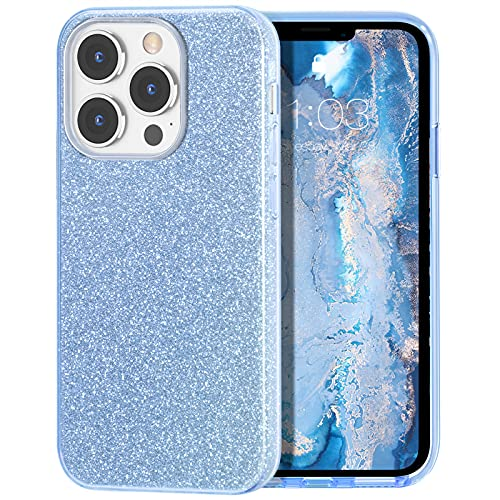 MILPROX Compatible with iPhone 13 Pro Case (2021), Glitter Sparkly Shiny Bling Rubber Gel Shell Cases 3 Layers Shockproof Protective Bumper Cover for iPhone 13 Pro 6.1'【3 Cameras】 2021-Blue