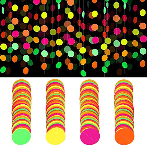 Lumuasky UV Black Light Reactive Glow Party Hanging Decorations and Supplies Neon Paper Garland Glow In The Dark Birthday Christmas Wedding for Adults Teens Kids(4 Pack) (Circle Dots)