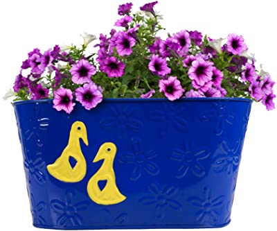 TrustBasket Duck Designer Oval Railing Planters - Set of 2 (Blue and Yellow)