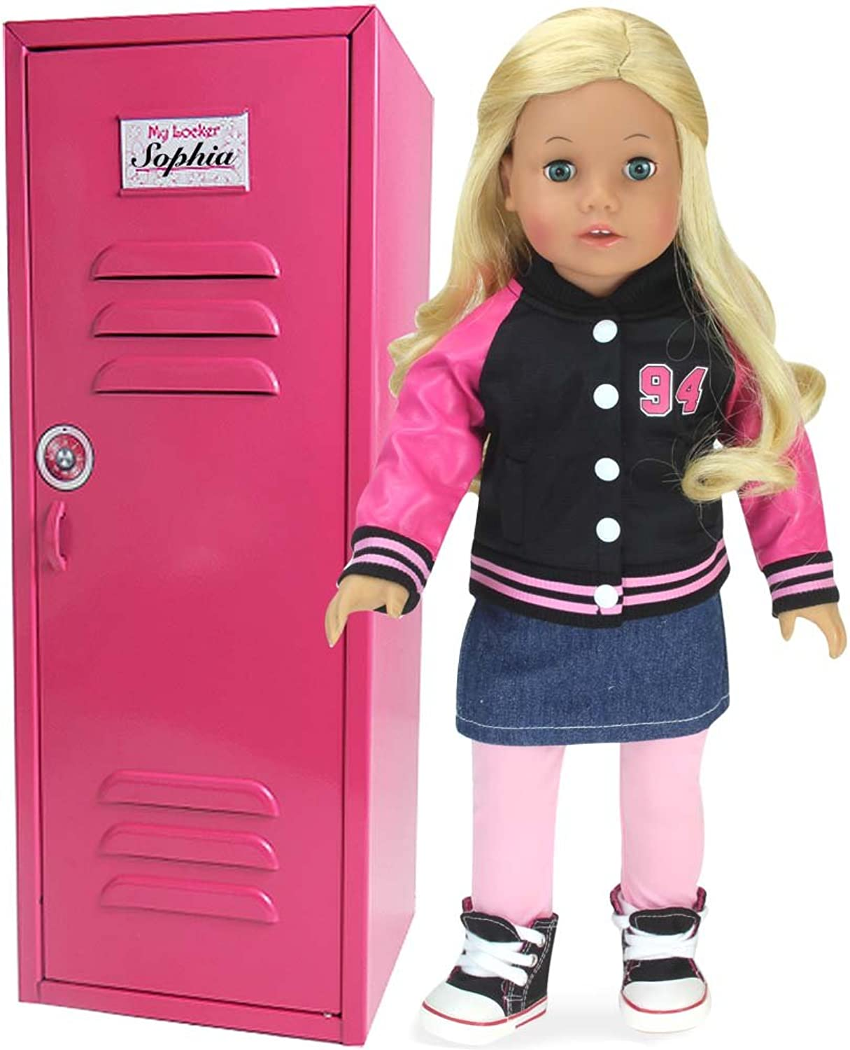 18 Inch Doll Clothes Locker for American Girl Doll Bed Rooms & More  18  Doll Furniture of Pink Metal Doll Locker