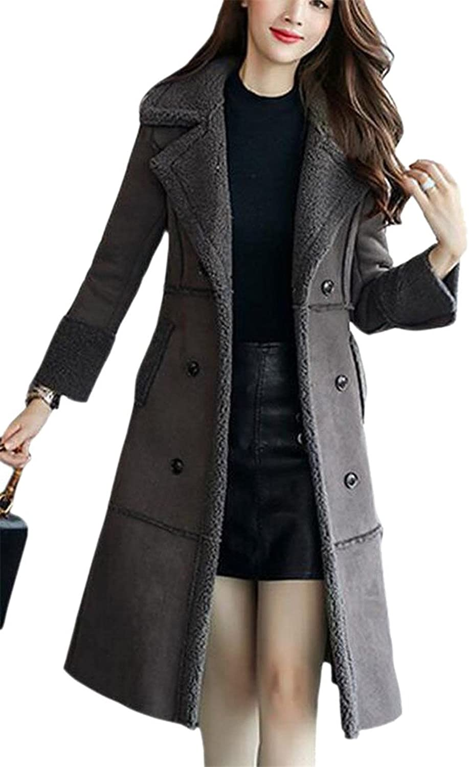 HTOOHTOOH Women's Outerwear Winter Faux Suede Shearling Long Trench Coat