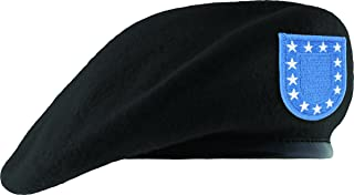 TheSupplyRoom Fitted Black Unlined Beret Leather Sweatband with Army Flash