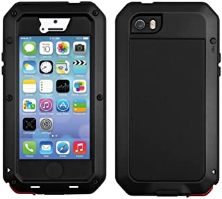 Amecer [Metal Series] Waterproof Shockproof Dust/Dirt Proof Aluminum Metal Military Heavy Duty Protection with Tempered Glass Screen Protect Cover Case for Apple iPhone 5/5S