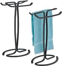 mDesign - Toallero de pie decorativo de metal para baño, encimeras de cambiador para exhibir y almacenar pequeñas toallas ...