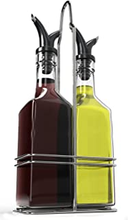 Royal Oil and Vinegar Bottle Set with Stainless Steel Rack and Removable Cork – Dual Olive Oil Spout – Olive Oil Dispenser, Olive Oil Bottle and Vinegar Bottle Glass Set - 5 ounces