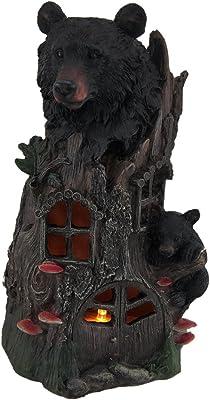 Zeckos Bear Family Tree House Decorative LED Night Light Statue