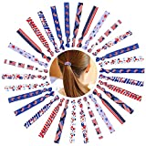 30 Pieces No Crease Ponytail Holders Ribbon Hair Ties Gnome Red White Blue Colorful Elastic Hair Bands American Flag Printed Hairband Ribbons for Girls Women