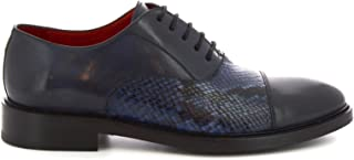 LEONARDO SHOES Luxury Fashion Mens 912719TOMBLUE Blue Lace-Up Shoes | Season Permanent