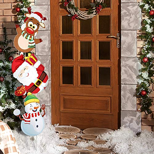 Jetec 3 Pieces Christmas Yard Signs Stakes Plastic Xmas Holiday Lawn Yard Decor Snowman Santa Claus Reindeer Pattern Yard Signs Christmas Decorations Outdoor Garden Pathway Driveway Signs