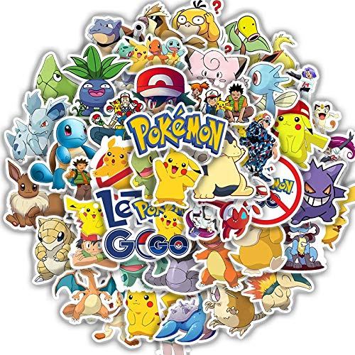 PMSMT 50 Uds Bonitas Pegatinas de Pokemoner Bomba a Prueba de Agua para álbum de Recortes, portátil, teléfono, monopatín, Guitarra, Juguetes clásicos para niños