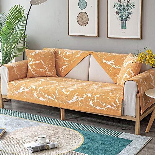 YUTJK Cojín de sofá con patrón de mármol, Funda de sofá de Esquina, Fundas de Asiento de sofá de Tela para Sala de Estar, Funda Protectora de Muebles, para salón, Naranja