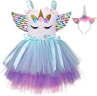 3pcs in 1 Set Cute Floral Unicorn Dress Gradient Color Costume Outfit Skirt Children Party Apparel with Unicorn Hairband and Wing for Girls Kids Size S Suitable for 1 to 2 Years Old
