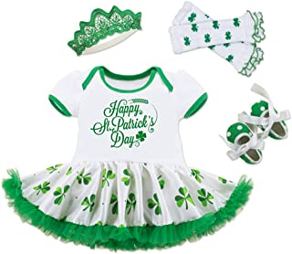 Infant Baby Girls Happy St. Patrick's Day Letters Print Romper Bodysuit Dress+Shoes+Socks+Headband Clothes Set