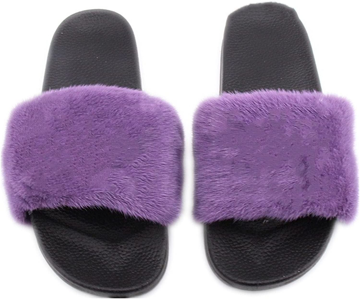QMFUR Fashion Women's Real Mink Fur Slippers Soft Sole Flat (8, Black-Purple)