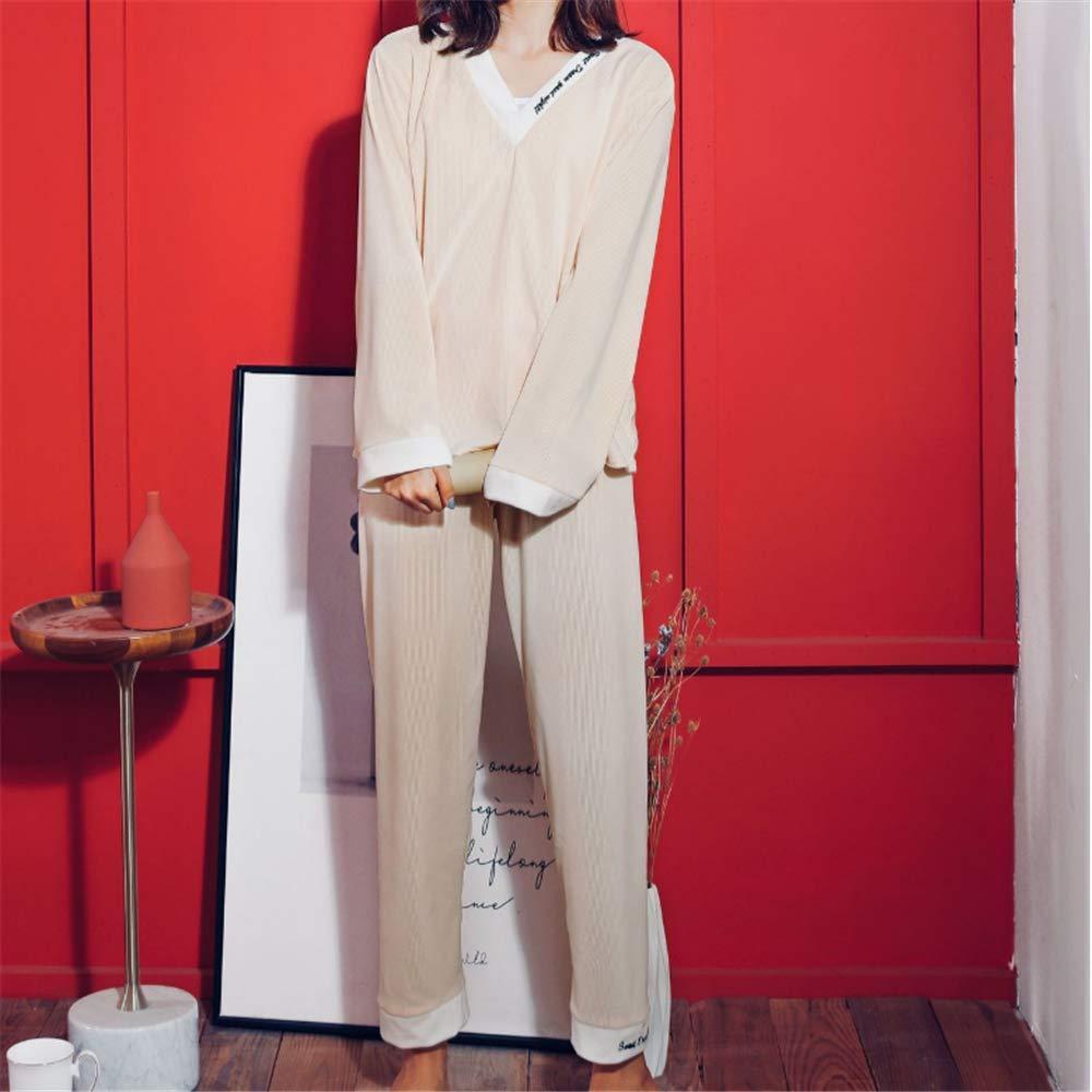 DUXIAODU Pijama de algodón para Mujer | Suave y cómodo | Elegante y Simple,Pantalones de Pijama de Manga Larga de Franela A-1 M: Amazon.es: Hogar
