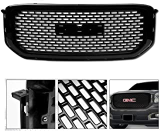 VXMOTOR for 2015-2018 GMC Yukon/XL/Denali - Glossy Black OE Sport Square Mesh Front Hood Bumper Grill Grille Kit Cover Guard Replacement ABS