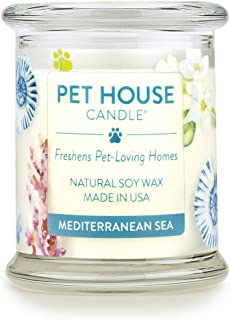 One Fur All 100% Natural Soy Wax Candle, 20 Fragrances - Pet Odor Eliminator, Appx 60 Hrs Burn Time, Non-toxic, Eco-Friendly Reusable Glass Jar Scented Candles – Pet House Candle, Mediterranean Sea