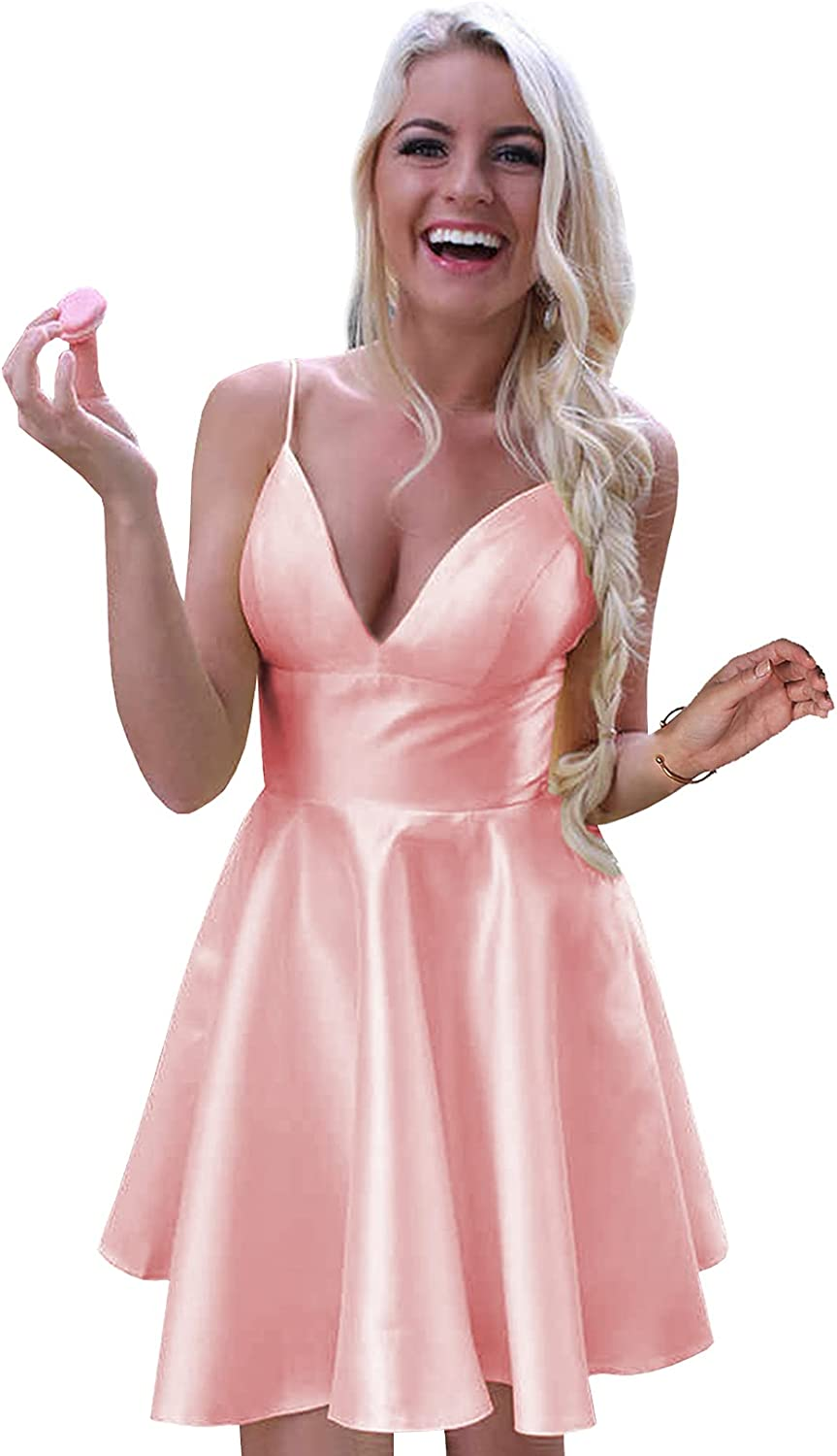 BONOYUER Spaghetti Strap Short Homecoming Dresses for Teens A Line V Neck Empire Satin Cocktail Prom Party Gown with Pockets