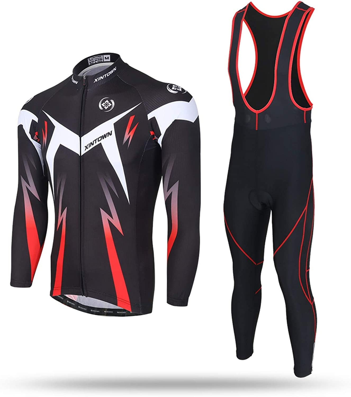 Unkoo Shine Men Long Sleeve Cycling Jersey Kit Suits Bike Racing MTB Bib Shorts with Gel Mens Long Full Road Shirt Breathable Quick Dry Triathlon Clothing Black