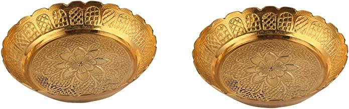 Aatm Brass Embossed Designed Puja Plate in Pair Best for Home & Office Decoration & Gift Purpose Handicraft (3.5 Inch)