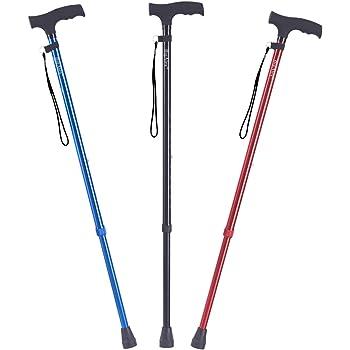 ビグアレクス(BigAlex)ステッキ 伸縮ステッキ 伸縮杖 軽量 アルミ 長さ調整可能 歩行支援 夜間散歩 (ブルー)