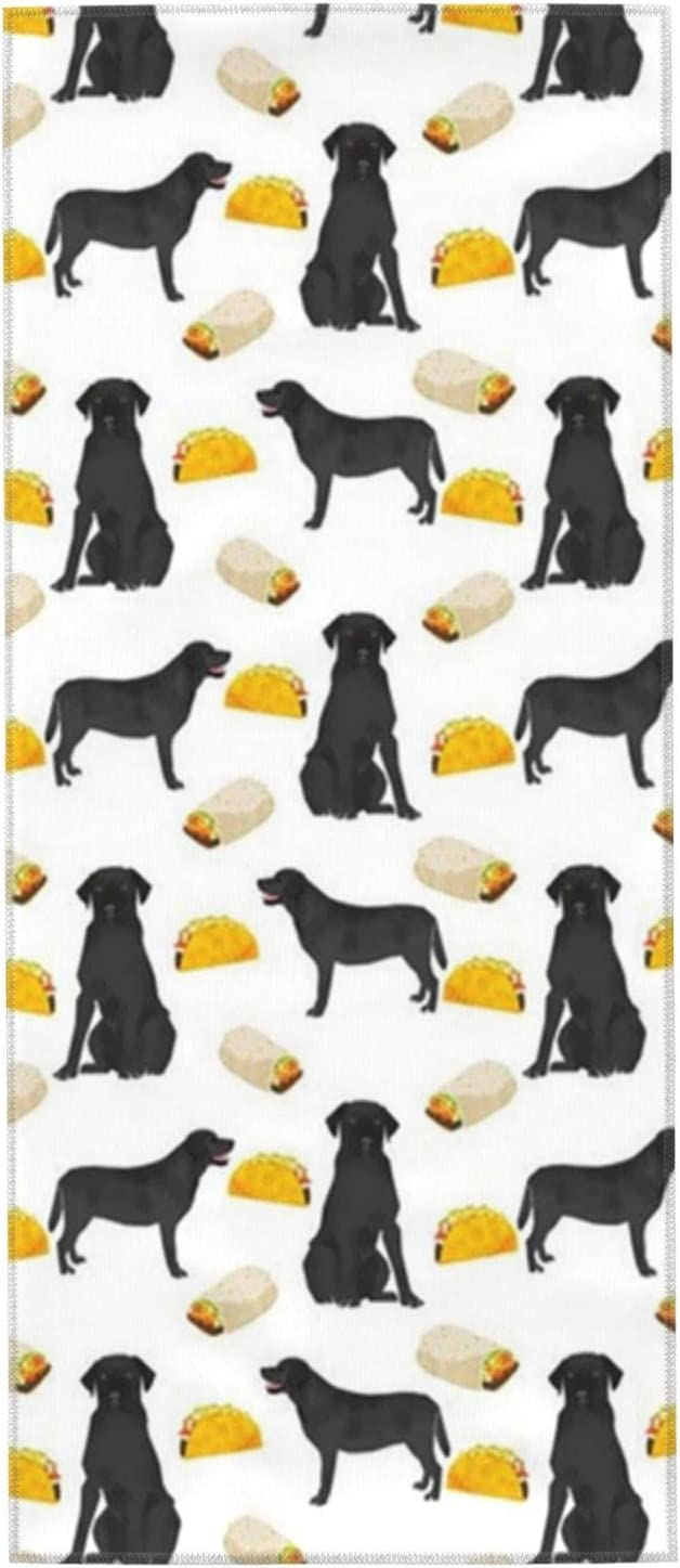 Fees free!! Black Labrador Tacos Towels Hand Washclo Inch Max 46% OFF 27.5x12 Washcloths