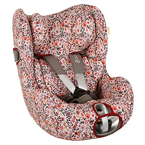Ukje - Funda silla coche para Cybex Sirona Z - Ajuste perfecto - Tela de algodón transpirable - Funda Cybex Sirona Z - Reduce la sudoración - Lavable a máquina - Fácil de instalar - Rosa Flores