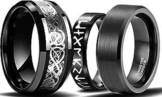 MYLYAHY 3PCS Black Stainless Steel Rings for Men Women,Norse Viking Runes Rings,Celtic Dragon Black Rings,Mens Viking Ring...