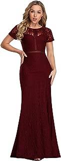 Women Elegant A Line Long Bridesmaid Dress with Lace EZ07752
