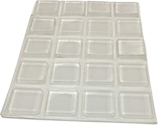 Clear Rubber Bumpers Large - Set of 20 Rubber Feet for Cutting Boards - Made in USA - Glass Table Top Bumpers, Self Adhesive Furniture Pads, Picture Frame Spacers - 1 Inch Square Self Stick Pads