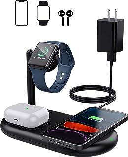 MoKo Bezprzewodowa ładowarka z adapterem, stacja ładująca 10 W do iPhone SE 2/11 Pro Max/XS/XR/Airpods Pro/2, uchwyt ładow...