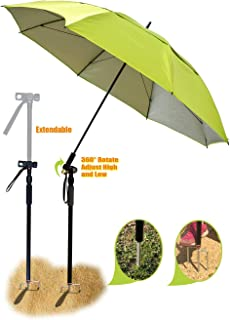 Fishing patio beach umbrella with 4.39lb, windproof/waterprool/portable Tilt and Telescoping Pole/Sand Anchor sturdy umbrella, use for beach/lawn/back yard/patio/park/shadezilla/outdoor travel/garden