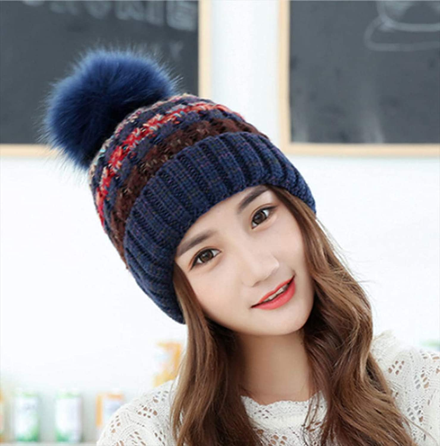 Wool Hat Winter Thickening Outdoor Clip color Hair Ball Cap Ladies Month Warm Plush Earmuffs Knit Hat,A