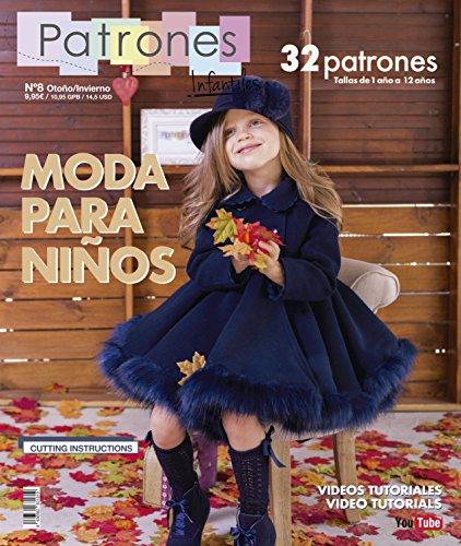 Revista patrones infantiles nº 8, Patrones de costura infantil, Moda Otoño-Invierno, 32 modelos de patrones niña, niño, con tutoriales paso a paso en vídeo (Youtube).