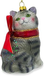 BestPysanky Striped Siberian Cat Glass Christmas Ornament