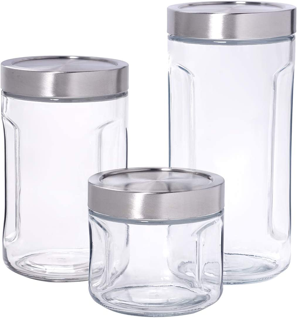 Anchor Hocking 3 Piece SecureLock Gripper Jar Set with Stainless Steel Lid, Perfect for Pantry Organization, Multi, Clear