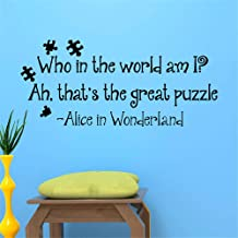Pioay Removable Alice in Wonderland Wall Sticker Who in The World am I Vinyl Art Wall Decals Quoting Mural Home Bedroom Decoration Black