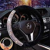 wheel accessories - Forala Car Steering Wheel Cover Fur Bling Bling Rhinestone Luxurious Universal for Girls Lady Winter Warm (Black)