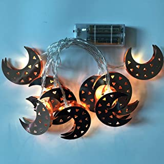 AKDSteel LED Wrought Iron Gold Moon Light String Festival Decoration Pendant Battery Powered Rose Gold Moon 3 Meters 20 Li...