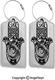 Flexible Silicone Travel ID Identification Labels Set,Arabian Art in Black and White Eastern Icon Crescent Moon and Star All Seeing Eye Decorative 2 PCS Black White,Holder Zip Seal & Steel - For Suit