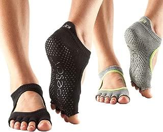 toesox Grip Pilates Barre Yoga Socks – Non-Slip Bellarina Half Toe Multi Pack